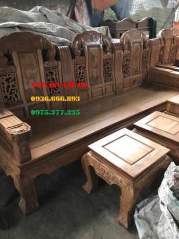 Bàn ghế gỗ Như Ý đầu voi 6 món tay 12