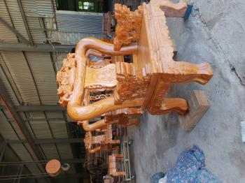 Bàn ghê gỗ minh rồng 6 món tay 12