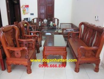 Bàn ghế gỗ| Salon gỗ Minh triện 6 món tay 12