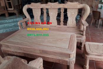 Salon gỗ| Bàn ghế Minh Triện 6 món gỗ hương đá