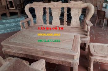 Bàn ghế gỗ| Bộ ghế quốc triện cột 12 cm hương đá 6 món