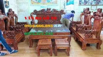 Bàn ghế gỗ| Bàn ghế nghê đỉnh gỗ hương tay 12 bộ 8 món
