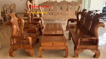 Bàn ghế gỗ | Bộ Tần Thủy Hoàng 6 món tay 12 cm Vân gõ hàng tuyển