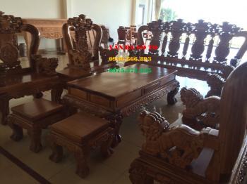 Bộ bàn ghế gỗ Nghê Bảo Đỉnh 10 món cột 14 cm