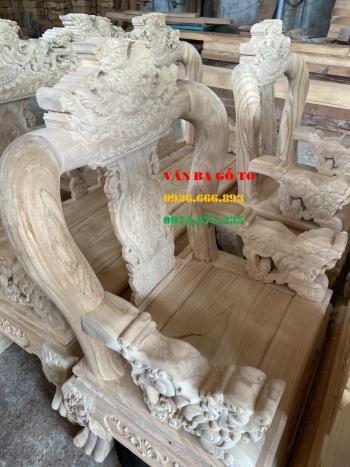 Bàn ghế gỗ Nghê Bảo Đỉnh 6 món cột 12 cm