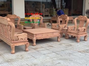 Bàn ghế gỗ voi đặc 8 món tay 12